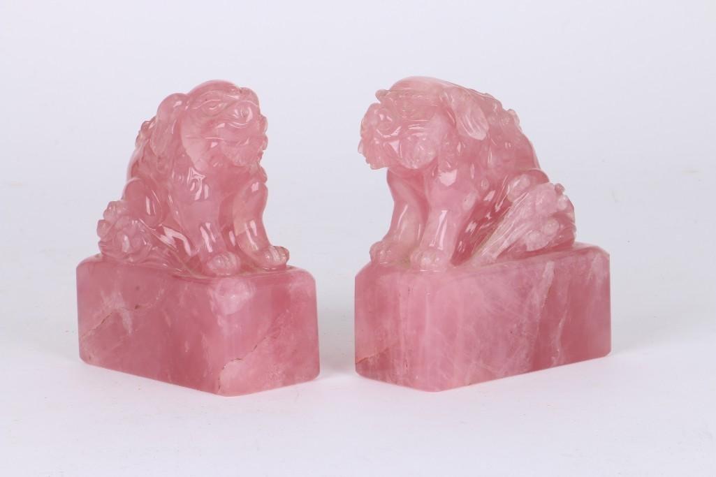 PAIR OF CHINESE ROSE QUARTZ FOO LIONS