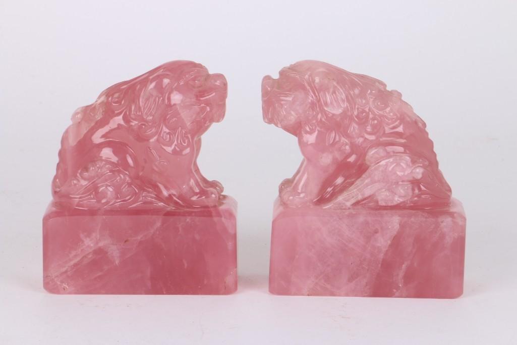 PAIR OF CHINESE ROSE QUARTZ FOO LIONS - 5
