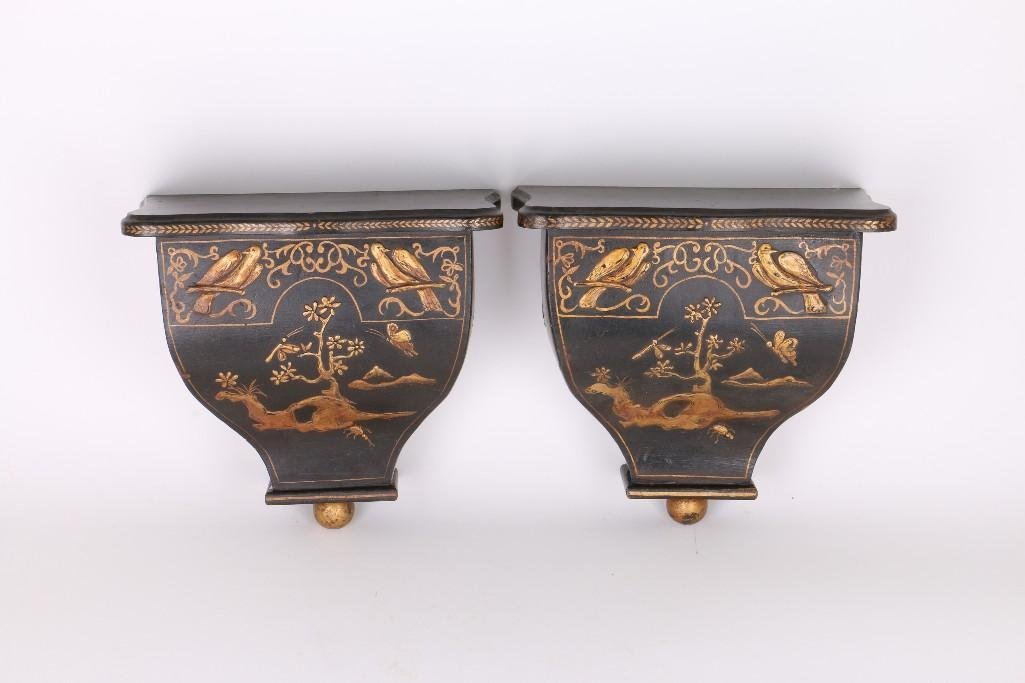 PAIR CHINOISERIE BLACK & GILT LACQUERED WOOD BRACKETS