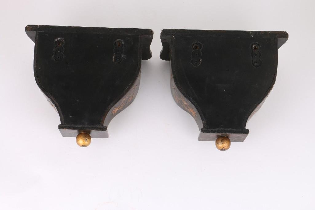 PAIR CHINOISERIE BLACK & GILT LACQUERED WOOD BRACKETS - 2