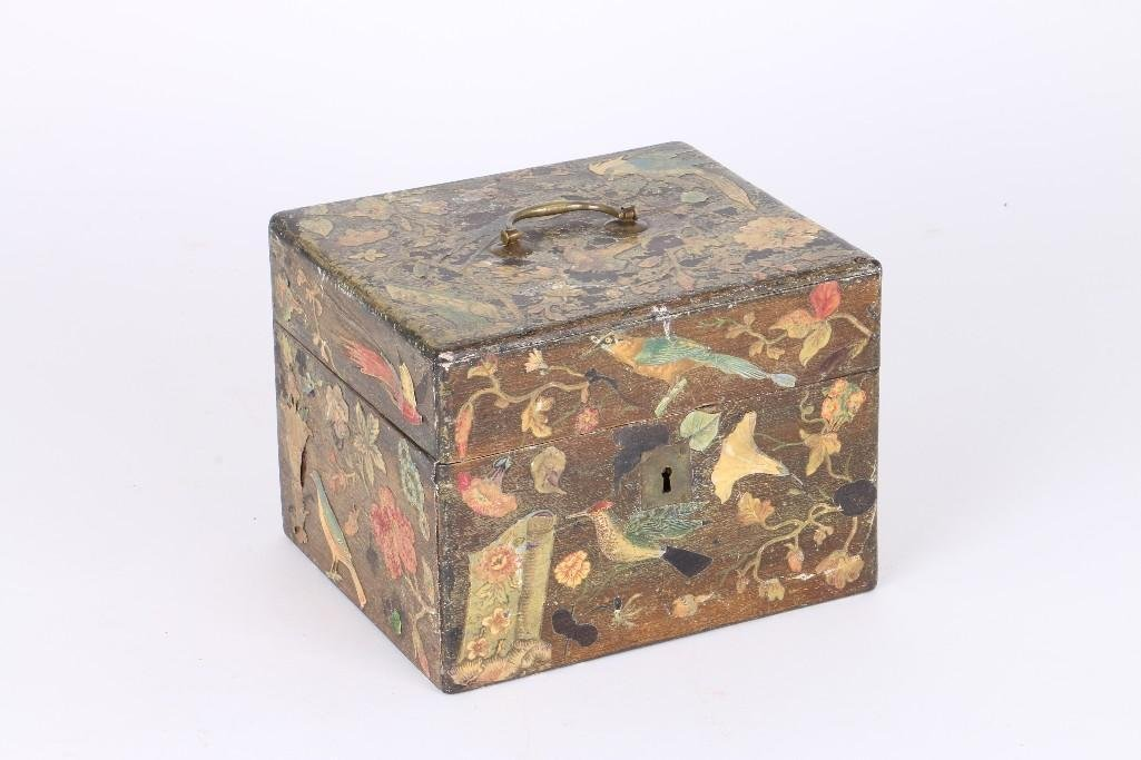 VICTORIAN STYLE STAINED WOOD DECOUPAGE DECORATED BOX