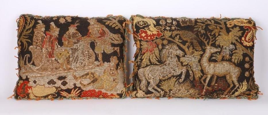 TWO TAPESTRY PILLOWS