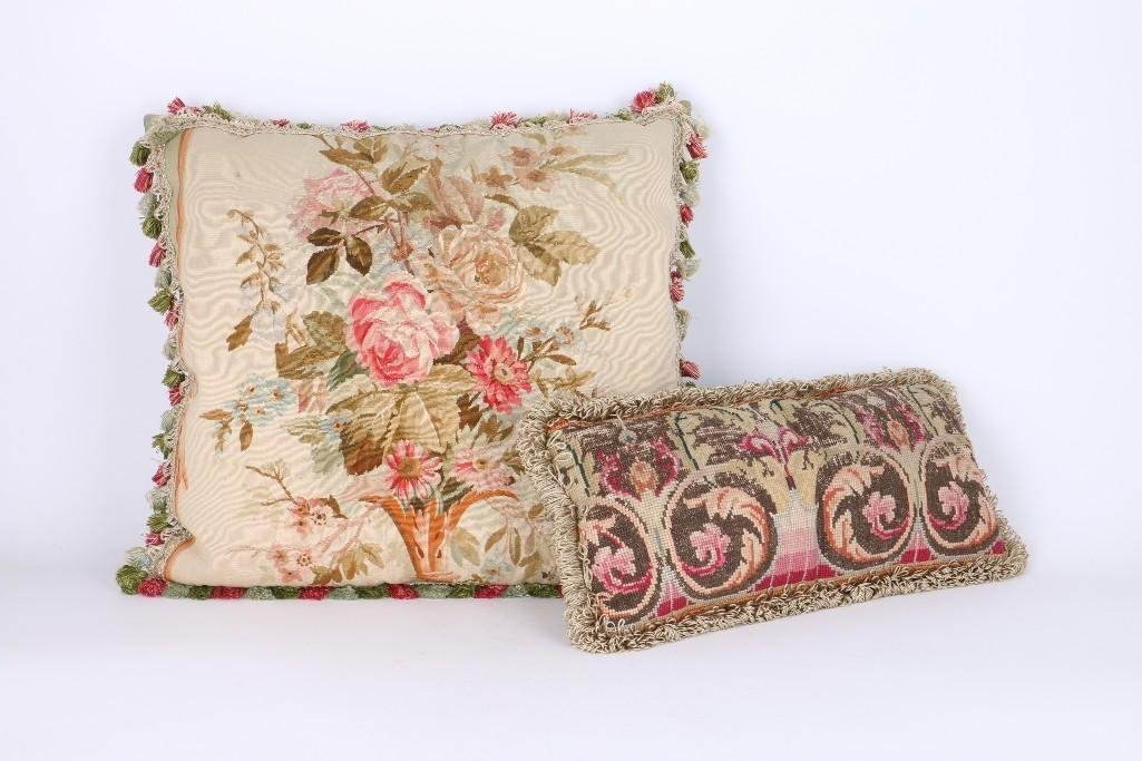 AUBUSSON TAPESTRY FRAGMENT PILLOW & ANOTHER