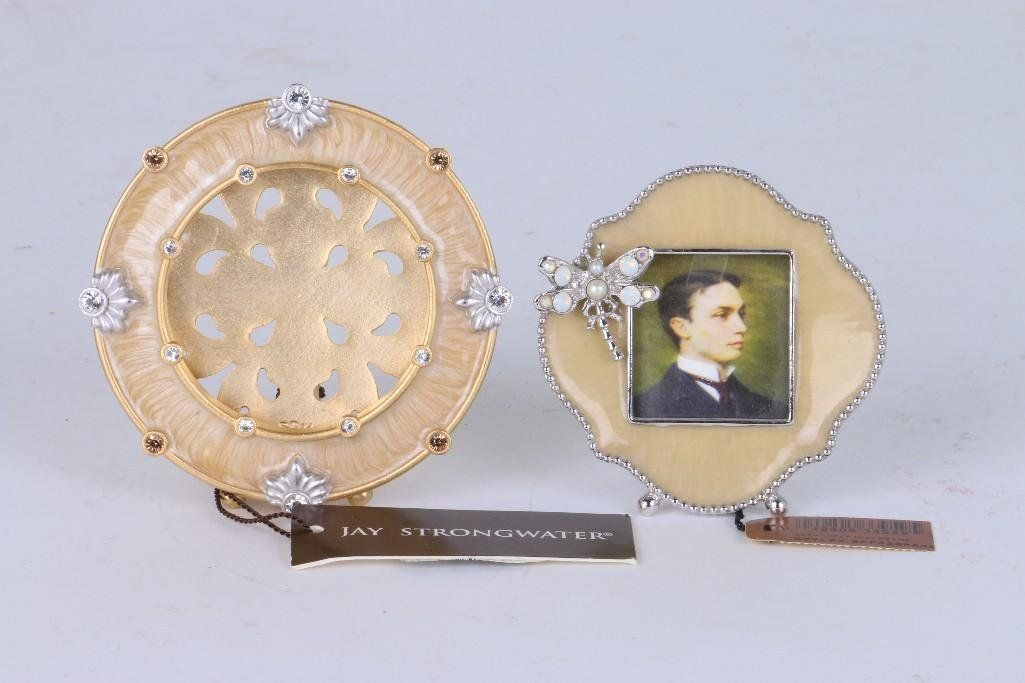 2 JAY STRONGWATER ENAMEL, GILT OR SILVERED PHOTO FRAMES