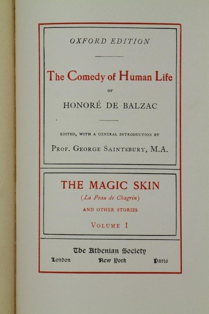 BALZAC. La Comedie Humaine 1901 Limited Oxford Edition