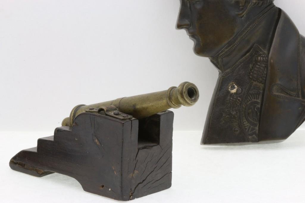 PATINATED BRONZE RELIEF NAPOLEON BUST AND BRASS CANNON - 4