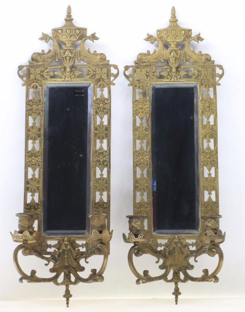 PAIR RENAISSANCE REVIVAL BRASS TWO LIGHT WALL MIRRORS