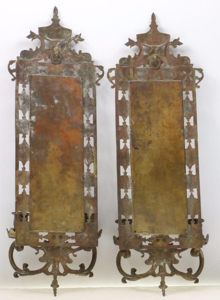 PAIR RENAISSANCE REVIVAL BRASS TWO LIGHT WALL MIRRORS - 2