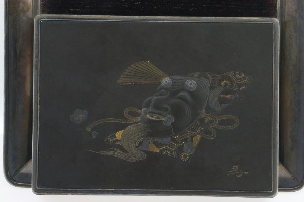 JAPANESE MIXED METAL CIGARETTE BOX WITH TRAY