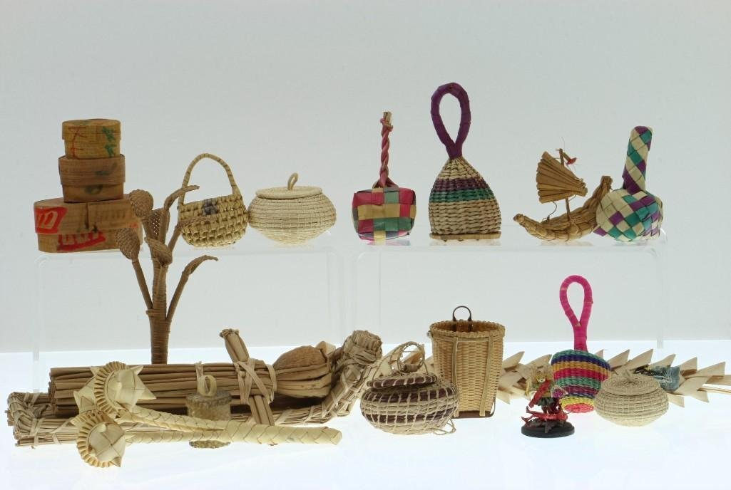 COLLECTION OF LATIN AMERICAN BASKETRY ITEMS/CONTAINERS