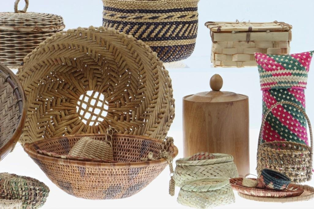 COLLECTION OF ETHNOGRAPHIC BASKETRY ITEMS - 3