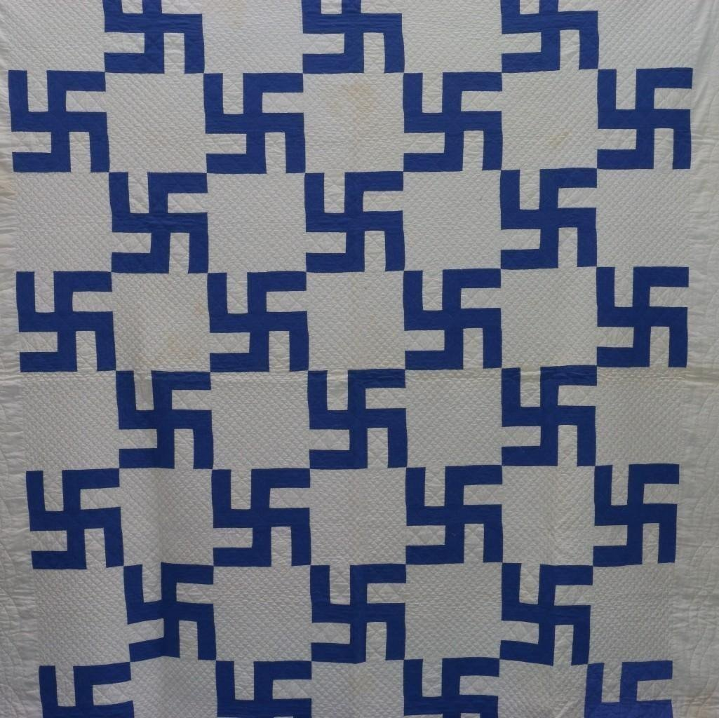 AMERICAN 20TH CENTURY HOOKED CROSS PATTERN QUILT