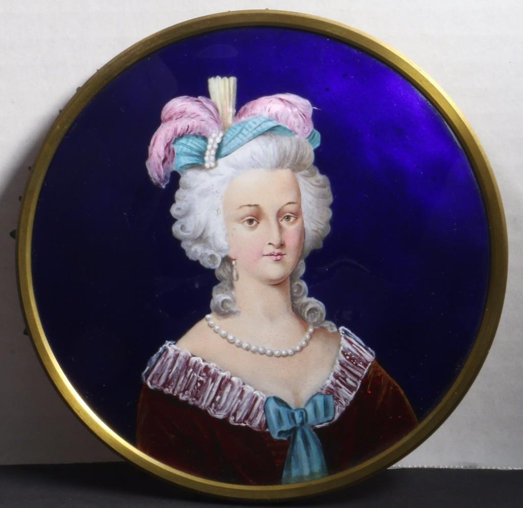 FRENCH ENAMEL PORTRAIT PLAQUE, LATE 19TH/EARLY 20TH C.