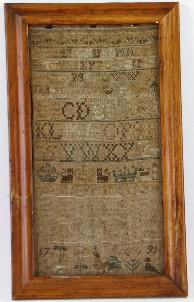 A silk and linen needlework sampler, 1791