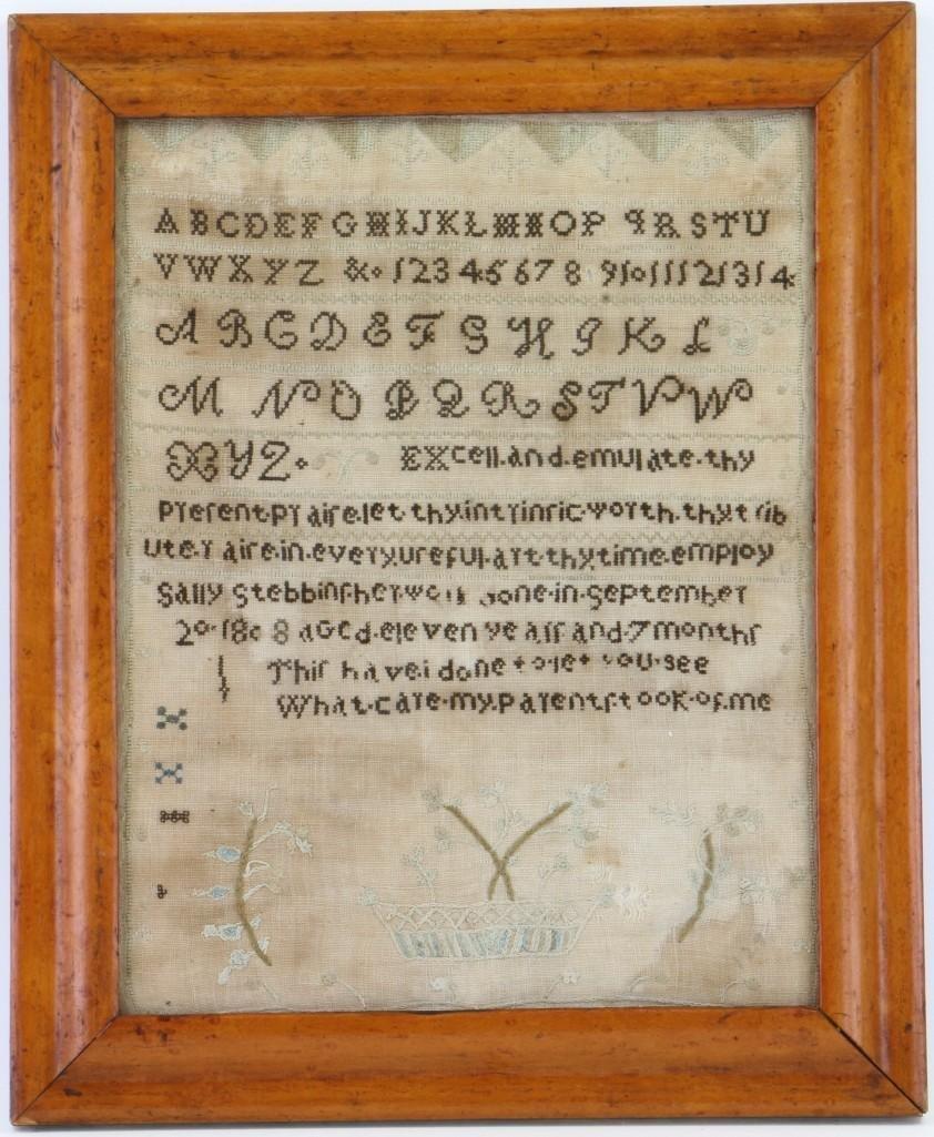 A silk and linen needlework sampler, 1808