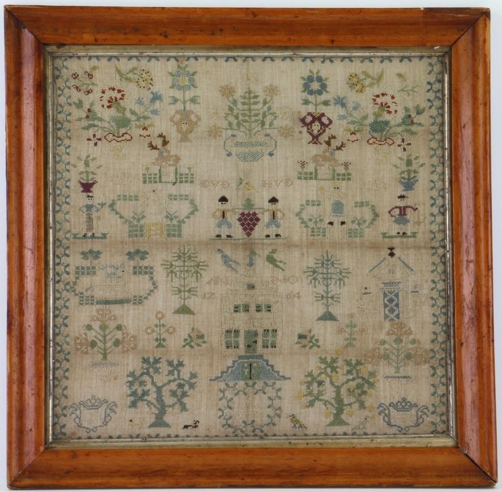 A silk and linen needlework sampler, 1764