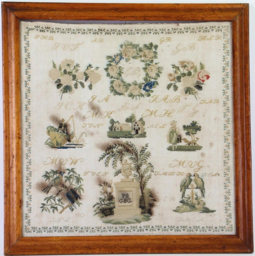 A silk and linen memorial sampler, 1849