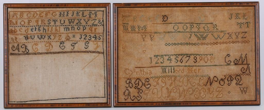TWO ALPHABET & NUMERAL SAMPLERS: POLLY MILLARD MARTIN