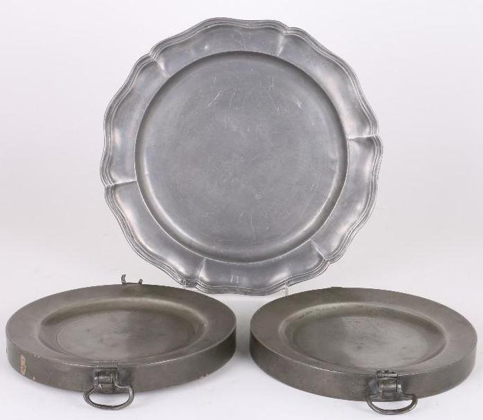 EUROPEAN PEWTER PLATE & 2 ENGLISH HOT WATER PLATES