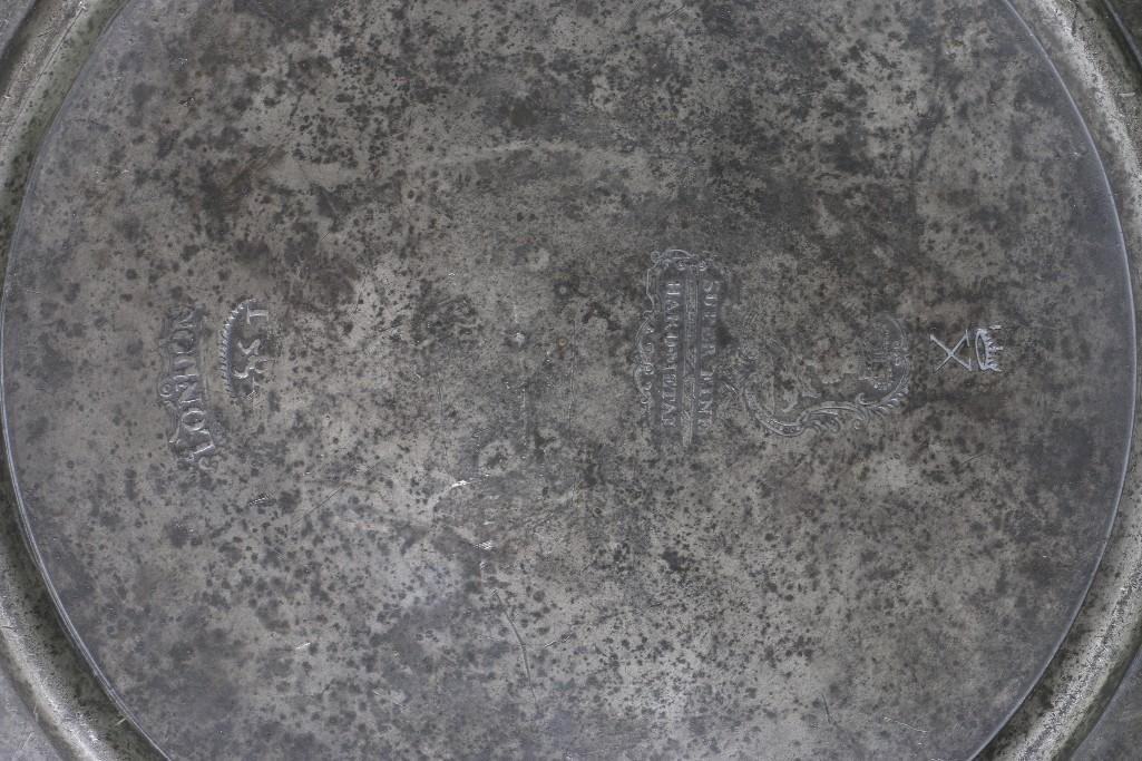 EUROPEAN PEWTER PLATE & 2 ENGLISH HOT WATER PLATES - 3