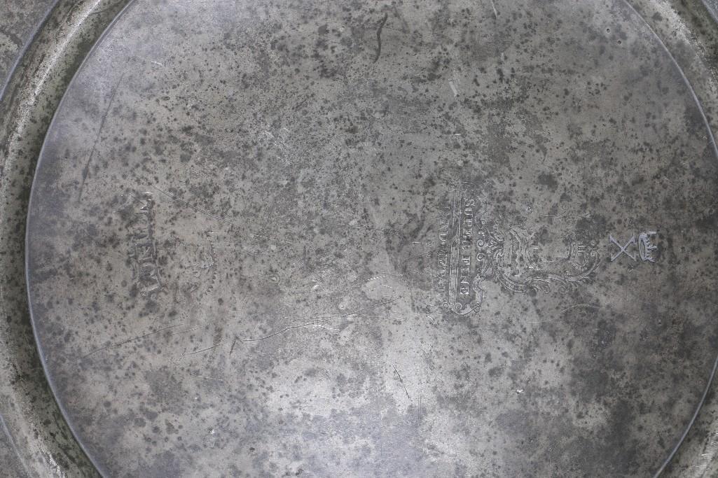 EUROPEAN PEWTER PLATE & 2 ENGLISH HOT WATER PLATES - 4