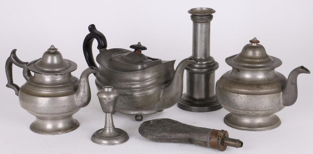SIX PIECES OF PEWTER