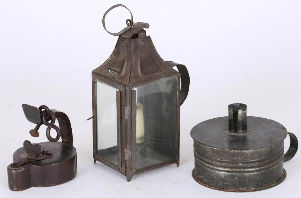 TWO TIN & ONE IRON FLUID LAMPS
