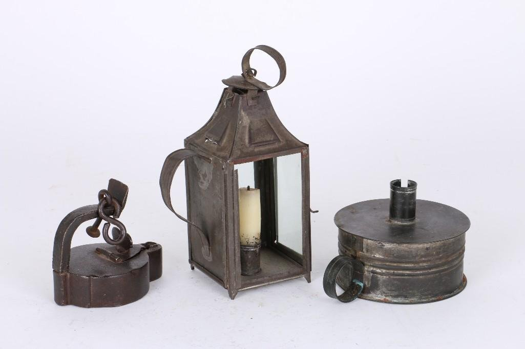 TWO TIN & ONE IRON FLUID LAMPS - 2