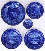5 WOOD STAFFORDSHIRE BLUE & WHITE TRANSFER PLATES