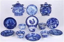 14 STAFFORDSHIRE BLUE & WHITE TRANSFER PRINTED TEAWARE