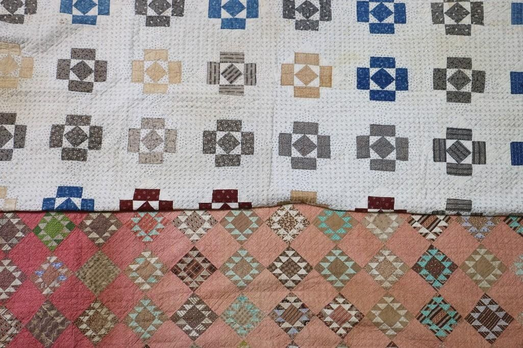 TWO AMERICAN PIECED COTTON QUILTS