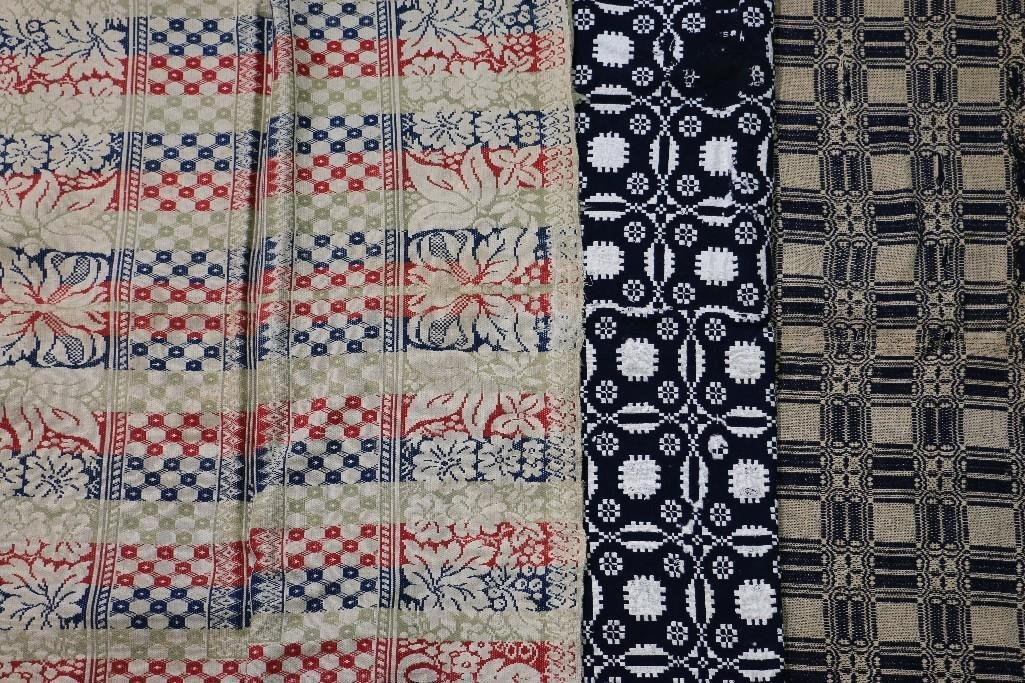 THREE AMERICAN JACQUARD WOVEN QUILTS
