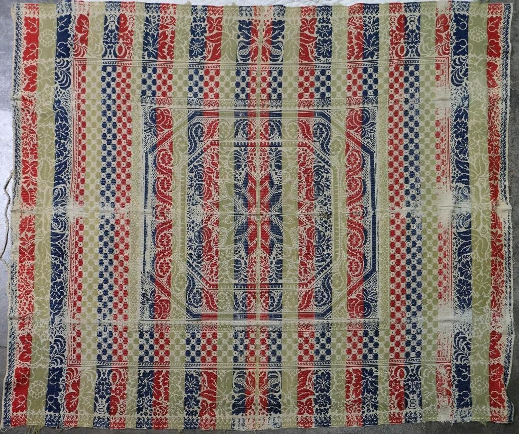 THREE AMERICAN JACQUARD WOVEN QUILTS - 2