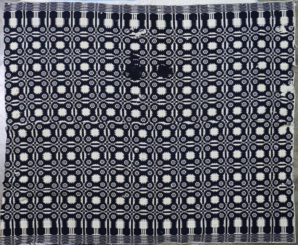 THREE AMERICAN JACQUARD WOVEN QUILTS - 3