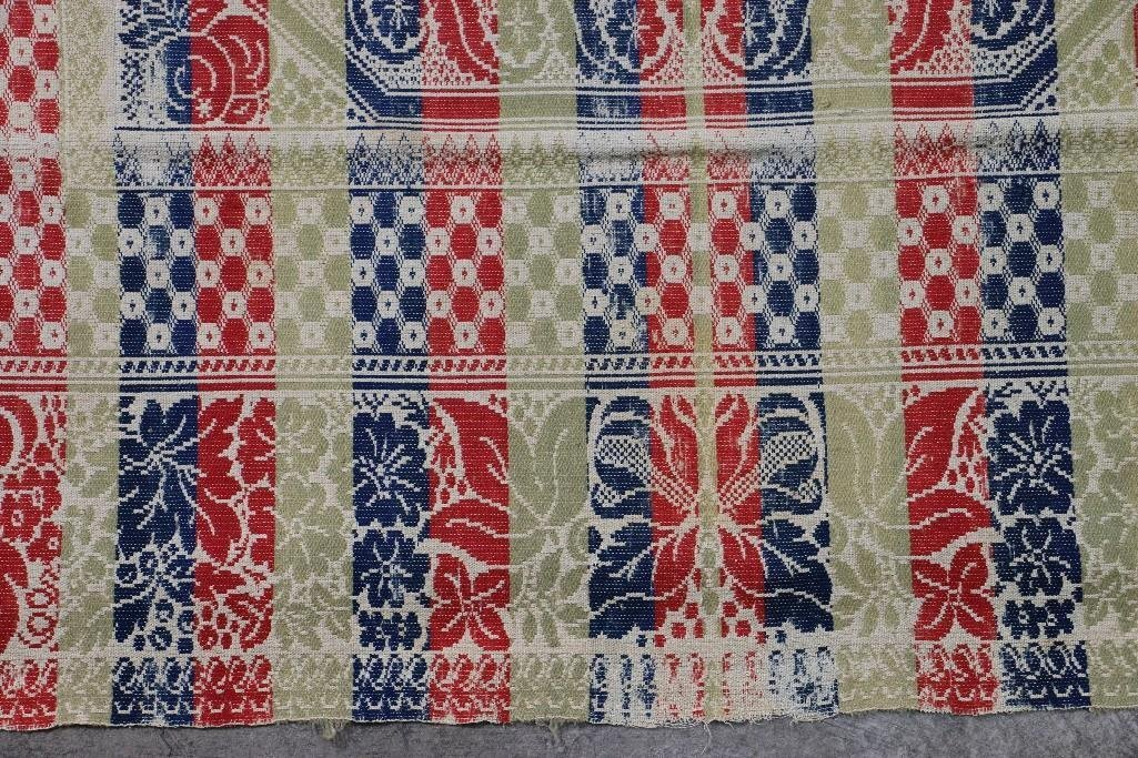 THREE AMERICAN JACQUARD WOVEN QUILTS - 5