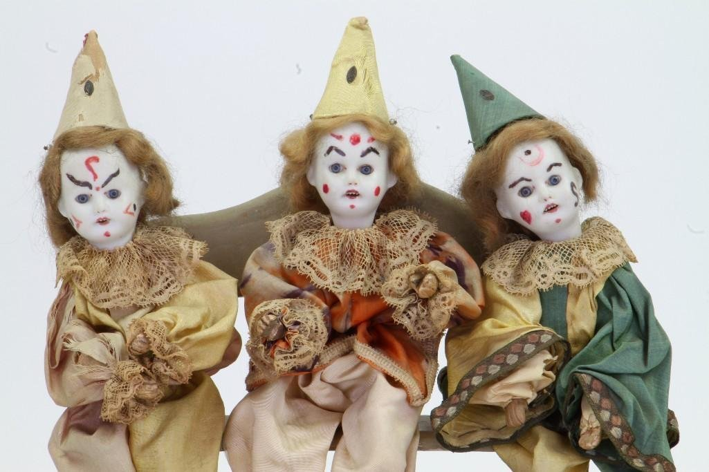 (3) Clowns Sitting on a Bench - 6