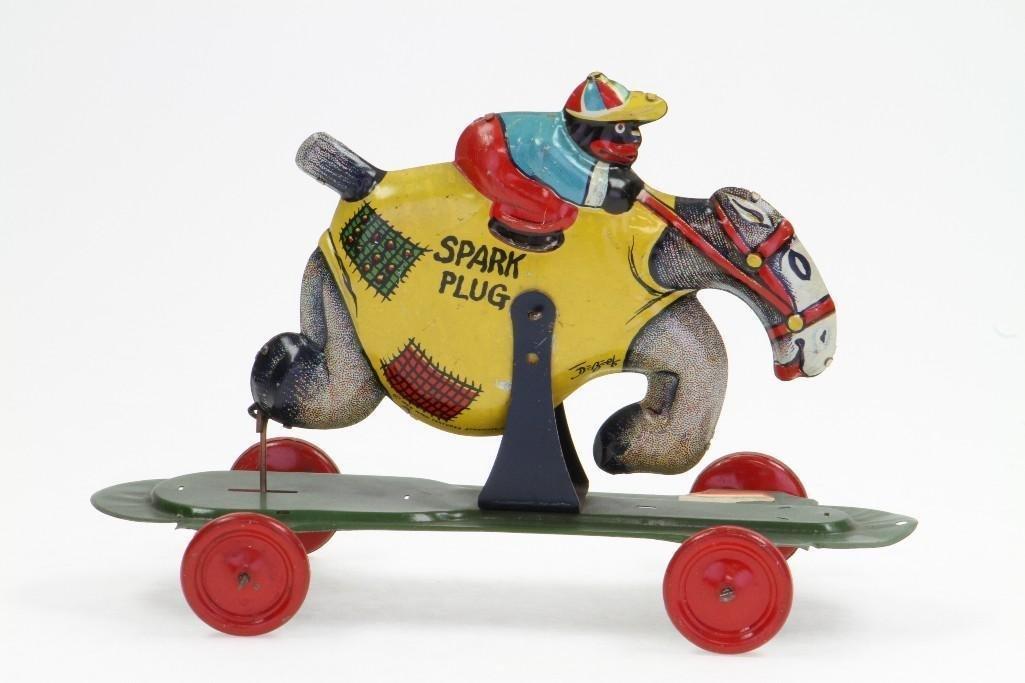 Spark Plug/ Barney Googel Pull Toy