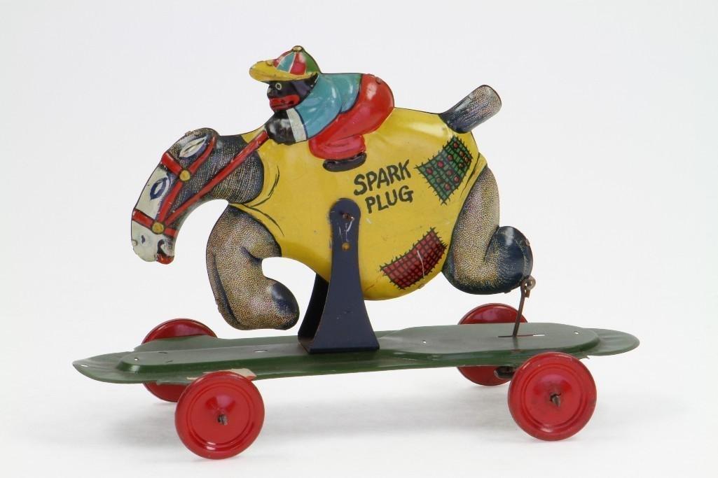 Spark Plug/ Barney Googel Pull Toy - 2