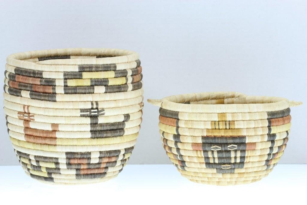 Two Hopi pictorial baskets