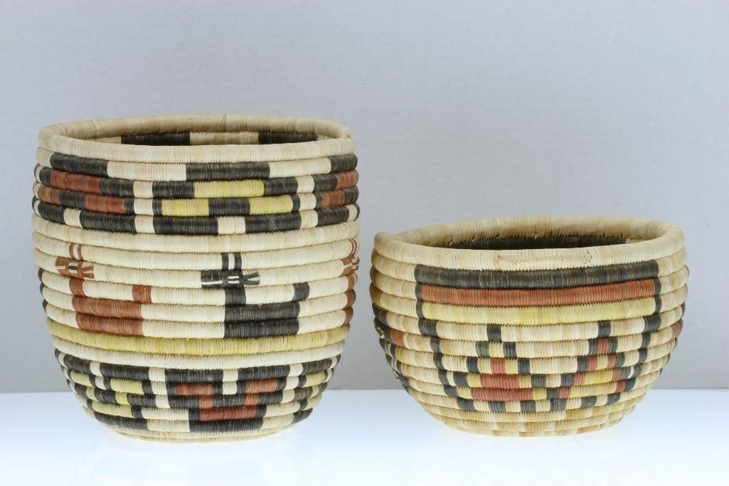 Two Hopi pictorial baskets - 6