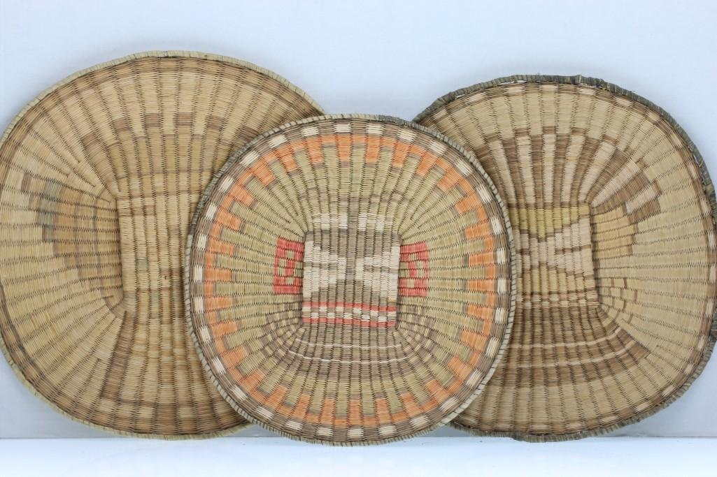 Three Hopi wicker pictorial plaques