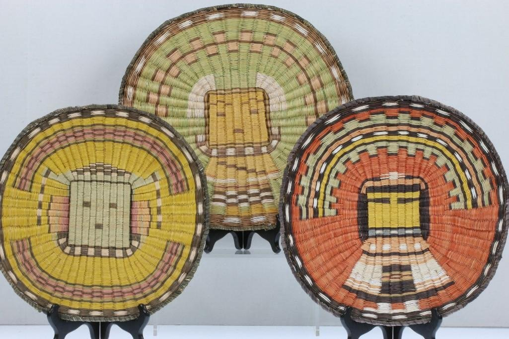 Three Hopi pictorial wicker plaques