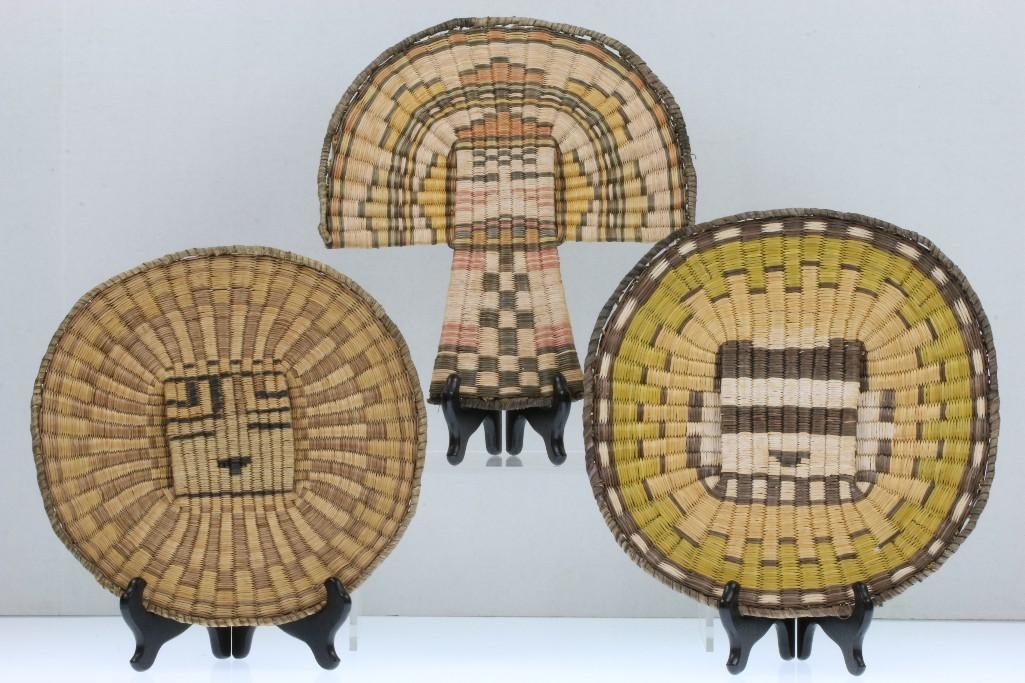 Three Hopi pictorial wicker basketry items
