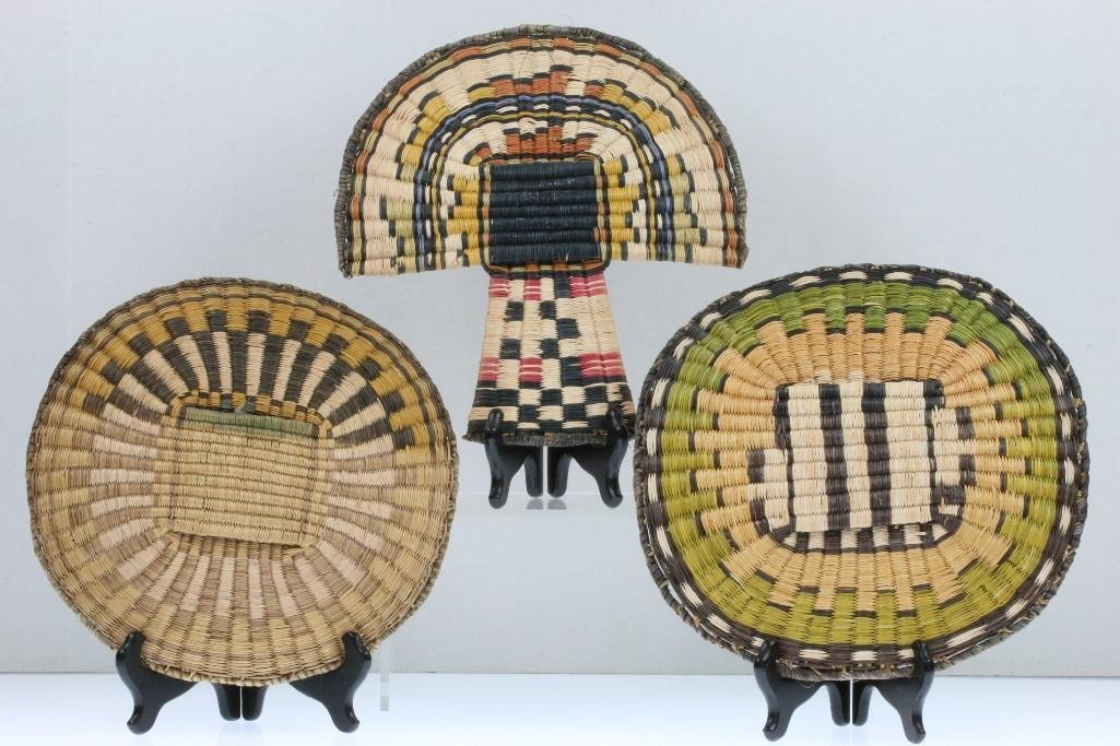 Three Hopi pictorial wicker basketry items - 2