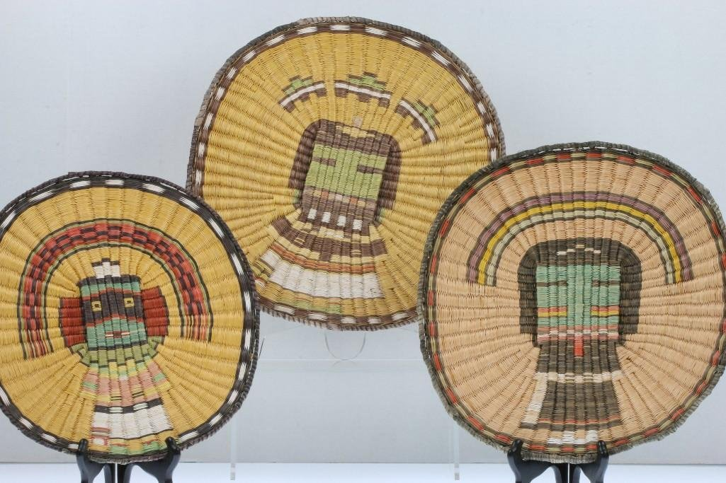 Three Hopi pictorial wicker plaques - 2