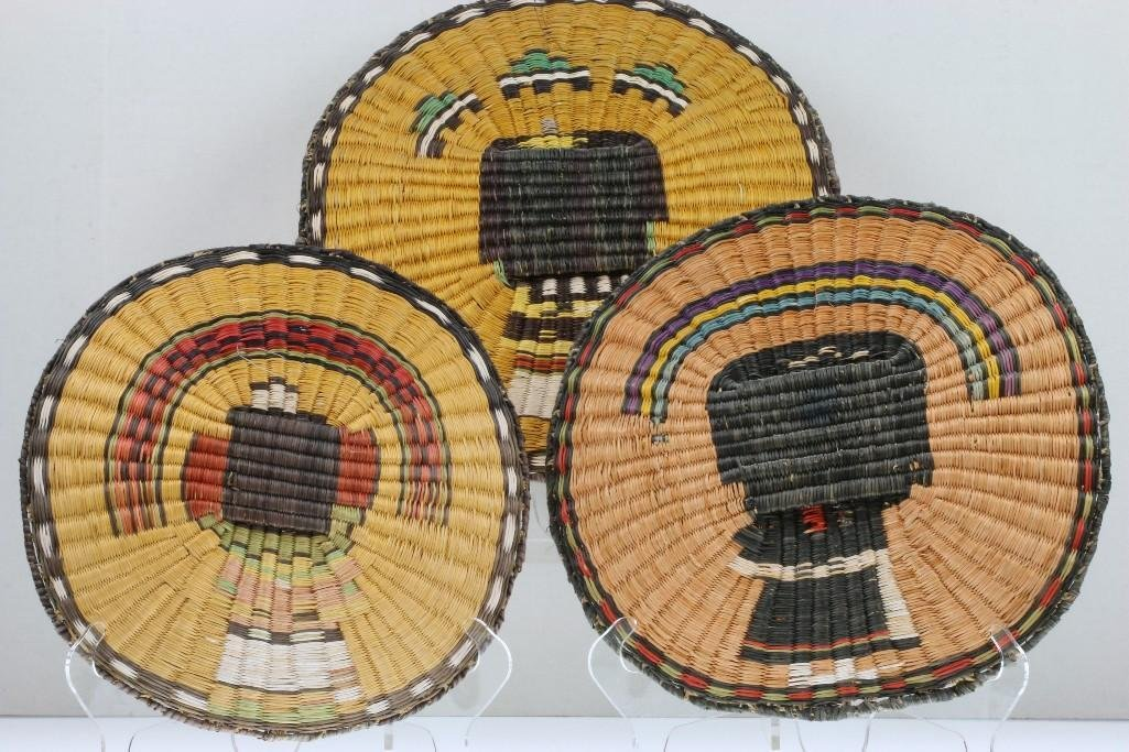Three Hopi pictorial wicker plaques - 6