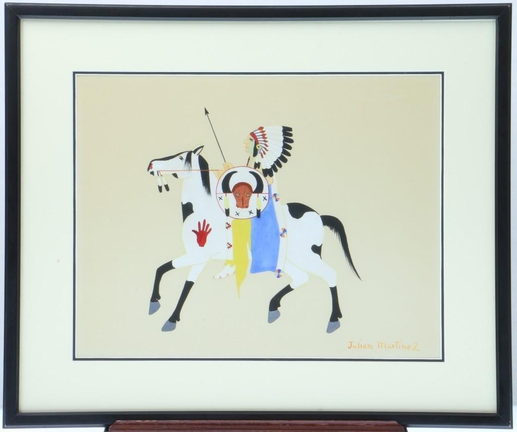 San Ildefonso painting of a man on horseback