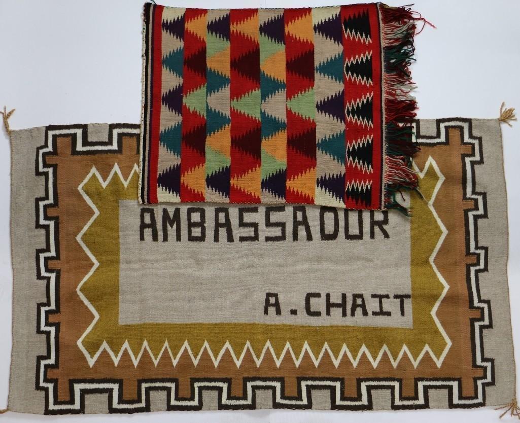 Navajo Germantown saddle blanket and pictorial rug