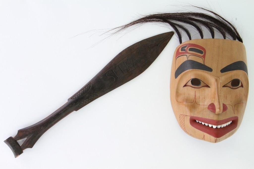 Reg Davidson mask signed in pencil and dated 1988