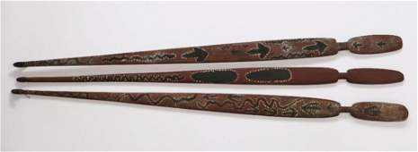 Three Australian Aboriginal woomeras spear throwers